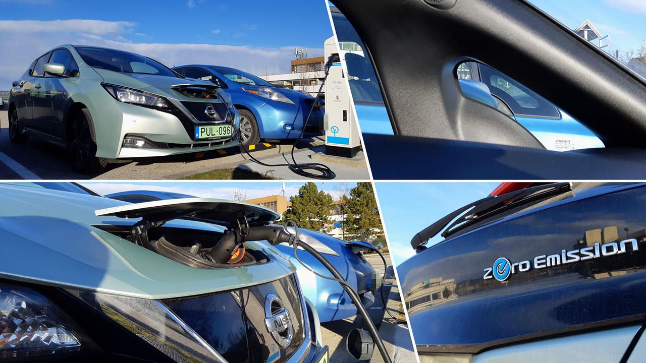 Nissan Leaf Tekna töltőállomásnál