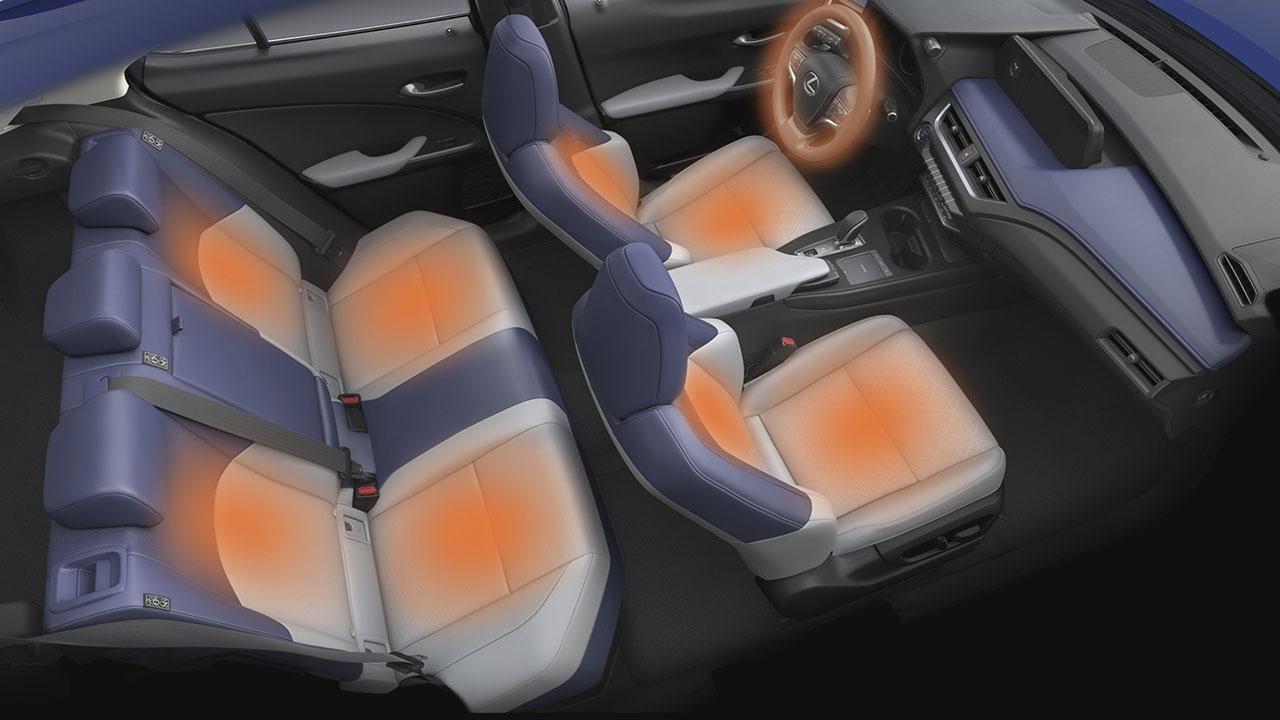 Lexus UX 300e ülésfűtése