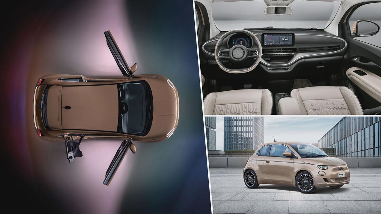 Fiat 500e 3+1 kívülről, belső tér